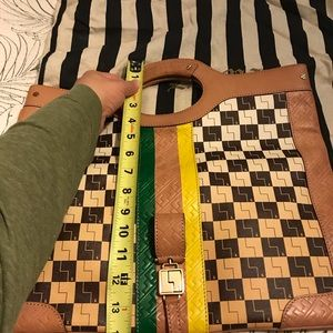 L.a.m.b. Ombre checkerboard Carlisle fold clutch.